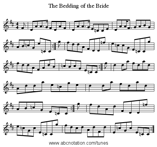 Bedding of the Bride, The - staff notation