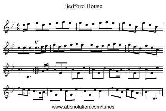 Bedford House - staff notation
