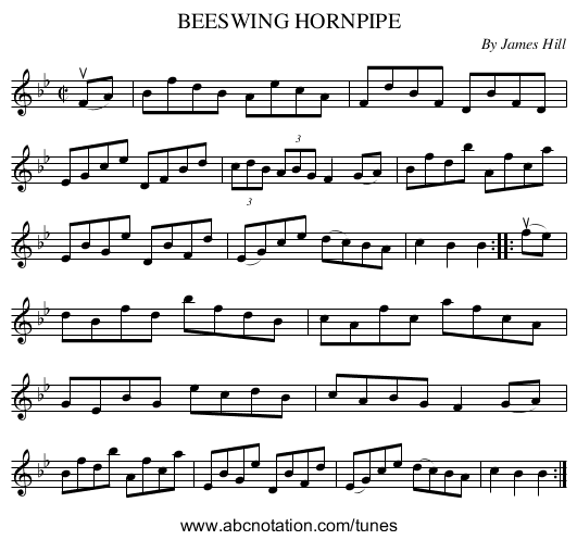 BEESWING HORNPIPE - staff notation