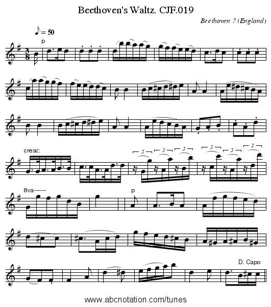 Beethoven's Waltz. CJF.019 - staff notation