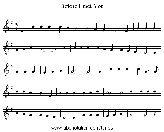 Before I met You - staff notation