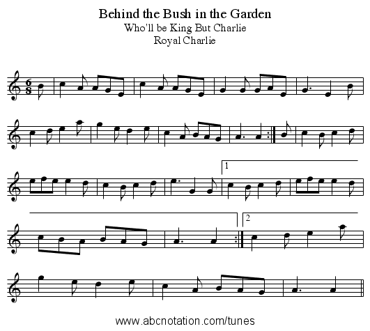 Behind the Bush in the Garden - staff notation