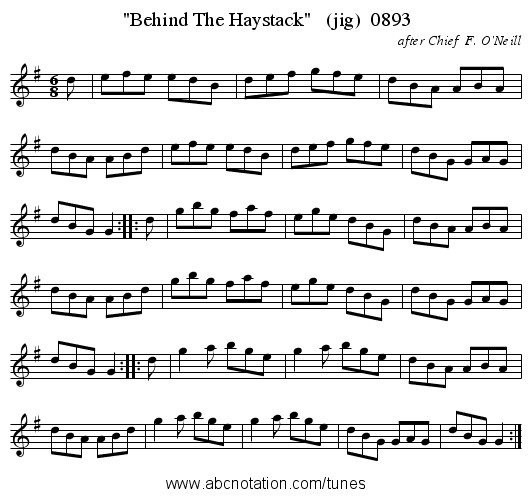 Behind The Haystack   (jig)  0893 - staff notation