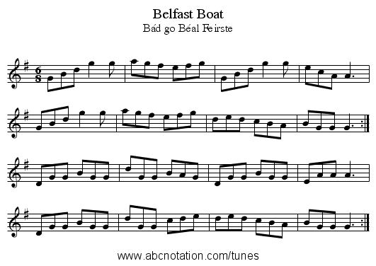Belfast Boat - staff notation