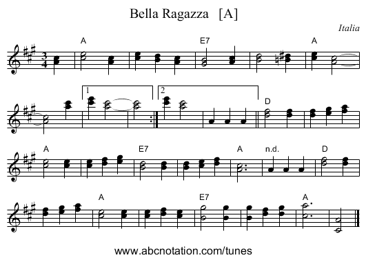 Bella Ragazza   [A] - staff notation