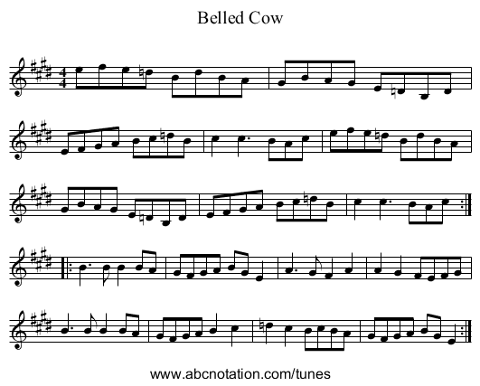 Belled Cow - staff notation