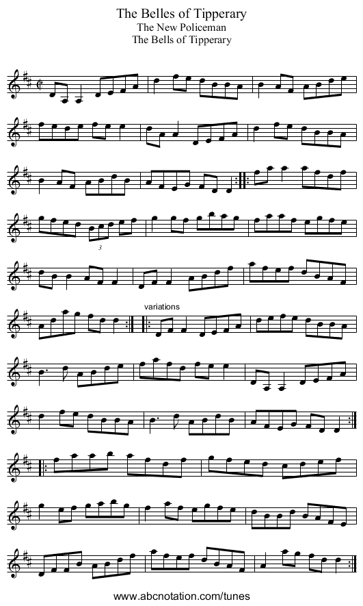 Belles of Tipperary, The - staff notation