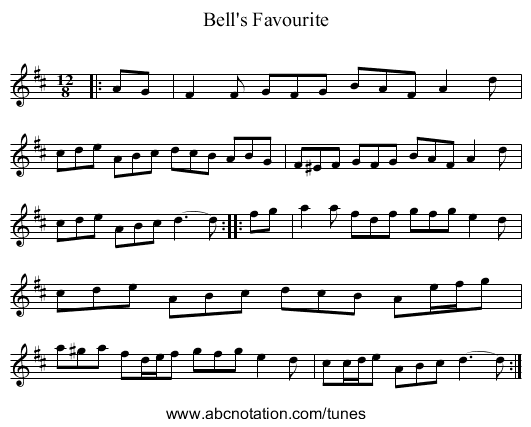 Bell's Favourite - staff notation