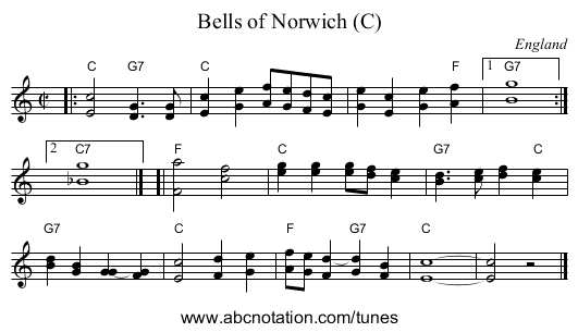 Bells of Norwich (C) - staff notation