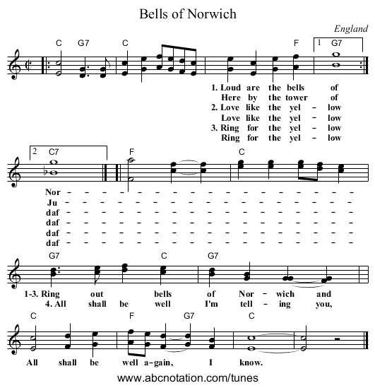 Bells of Norwich - staff notation