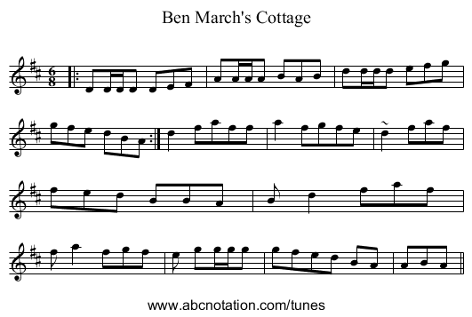Ben March's Cottage - staff notation