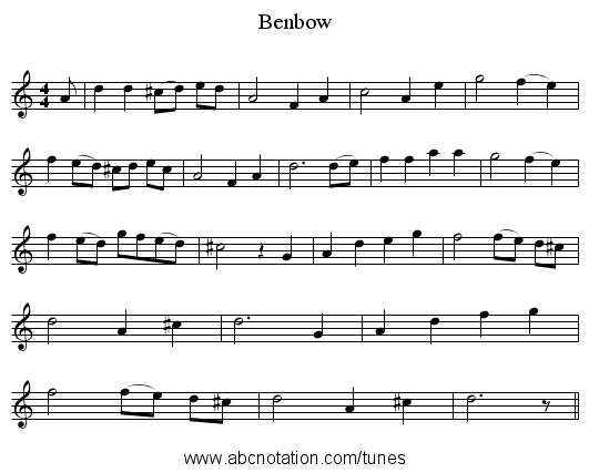 Benbow - staff notation
