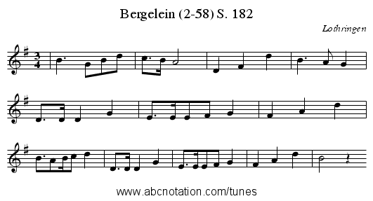 Bergelein (2-58) S. 182 - staff notation