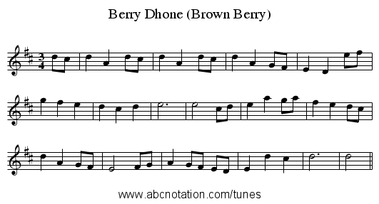 Berry Dhone (Brown Berry) - staff notation