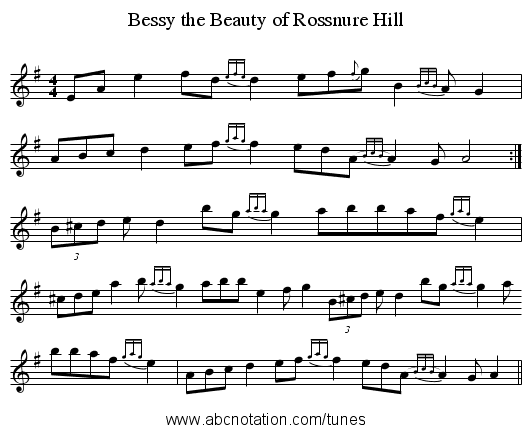 Bessy the Beauty of Rossnure Hill - staff notation