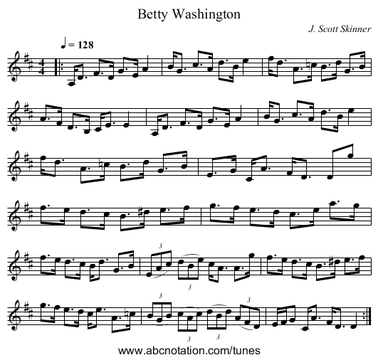 Betty Washington - staff notation