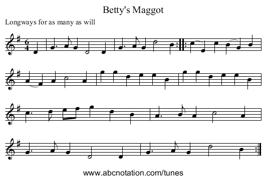 Betty's Maggot - staff notation