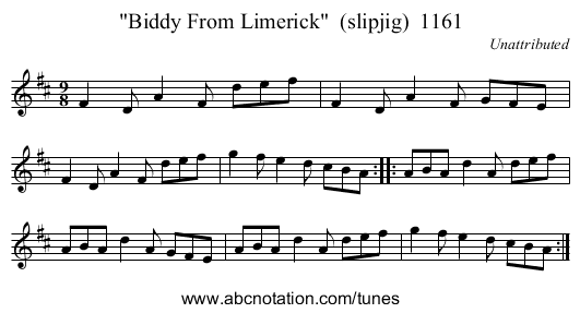 Biddy From Limerick  (slipjig)  1161 - staff notation