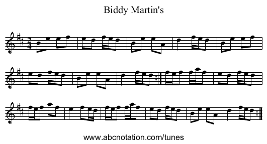 Biddy Martin's - staff notation