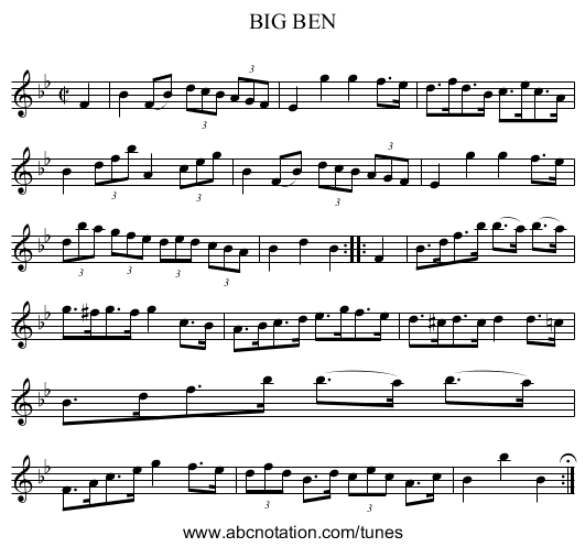 BIG BEN - staff notation