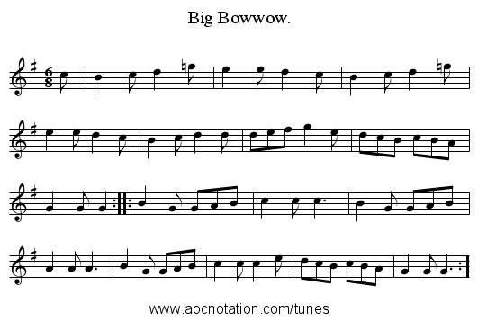 Big Bowwow. - staff notation