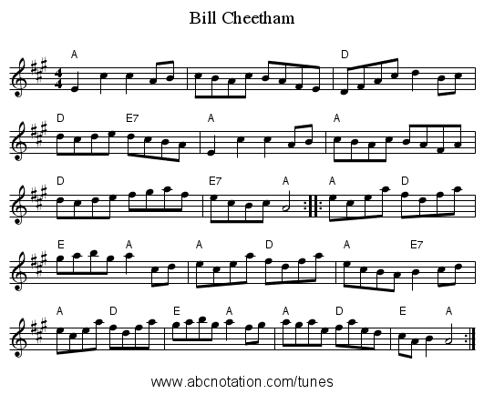 Bill Cheetham - staff notation
