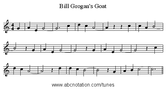 Bill Grogan's Goat - staff notation