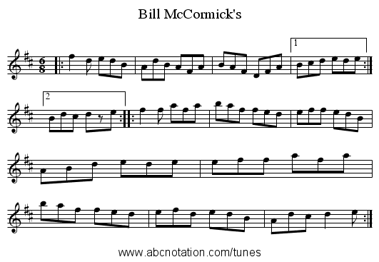 Bill McCormick's - staff notation