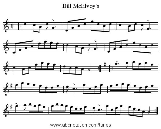 Bill McElvoy's - staff notation