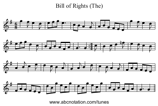 Bill of Rights (The) - staff notation