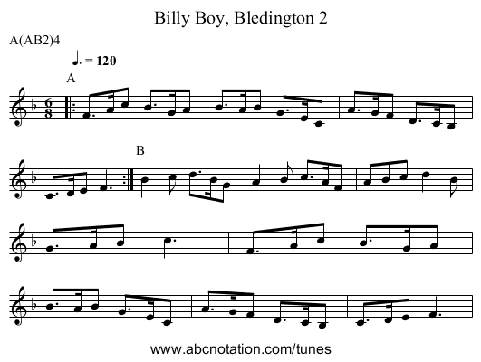 Billy Boy, Bledington 2 - staff notation