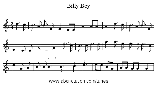Billy Boy - staff notation