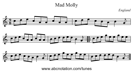 Billy in the Lowground - staff notation
