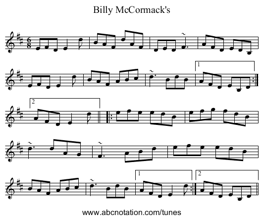 Billy McCormack's - staff notation