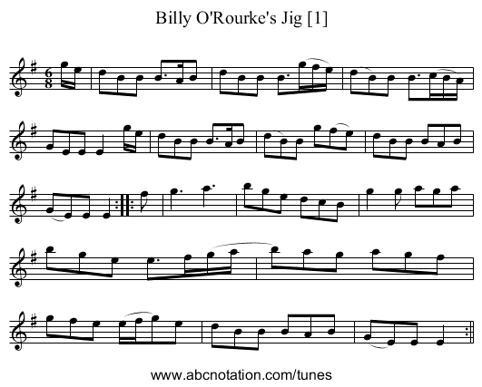 Billy O'Rourke's Jig [1] - staff notation