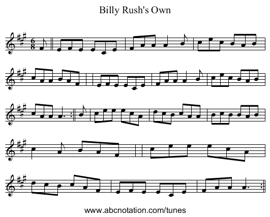Billy Rush's Own - staff notation