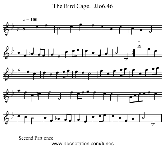 Bird Cage.  JJo6.46, The - staff notation