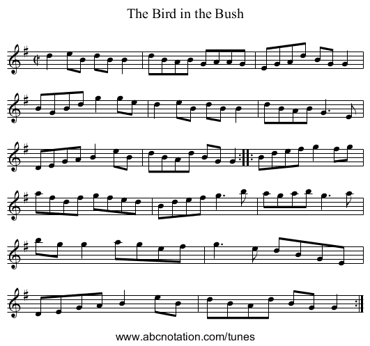 Bird in the Bush, The - staff notation