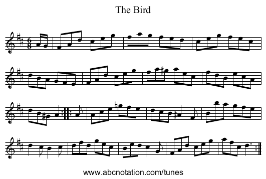 Bird, The - staff notation