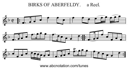BIRKS OF ABERFELDY.     a Reel. - staff notation
