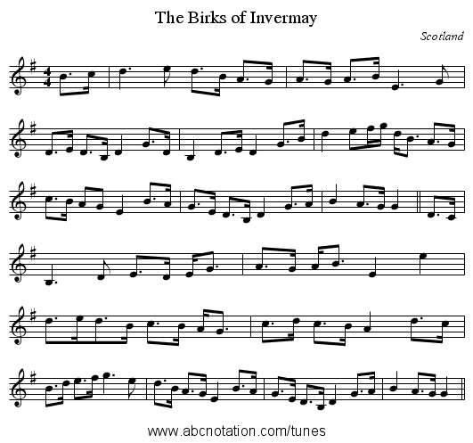 Birks of Invermay, The - staff notation