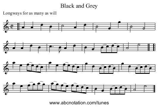 Black and Grey - staff notation