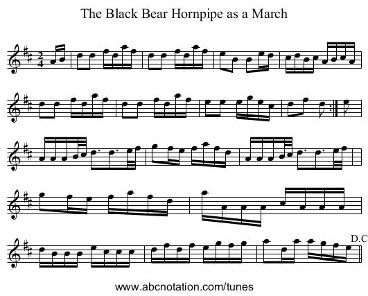 Black Bear, The - staff notation