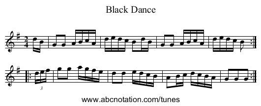 Black Dance, The - staff notation