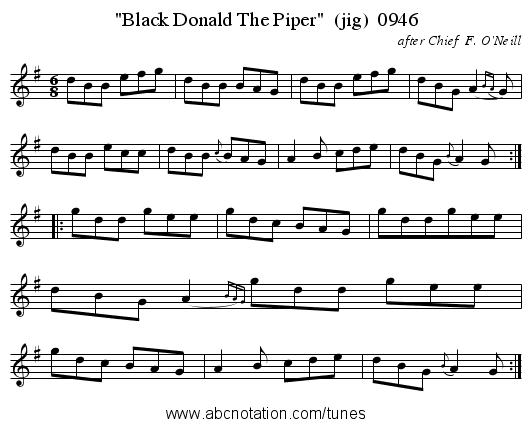 Black Donald The Piper  (jig)  0946 - staff notation