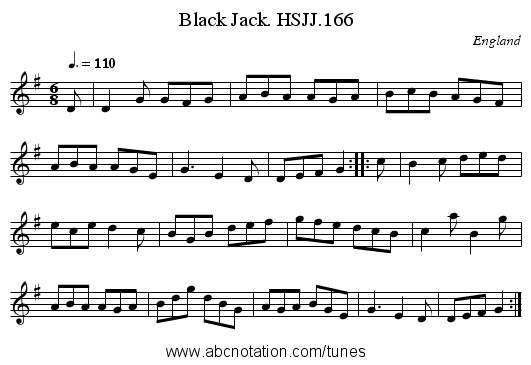Black Jack. HSJJ.166 - staff notation