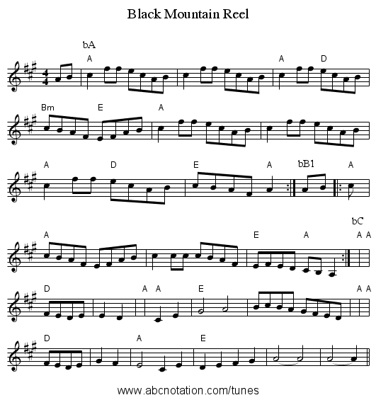 Black Mountain Reel - staff notation