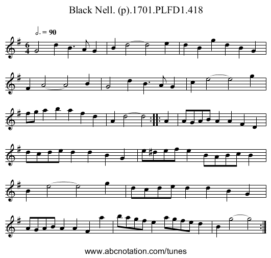 Black Nell. (p).1701.PLFD1.418 - staff notation