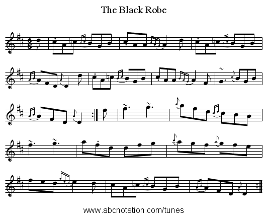 Black Robe, The - staff notation