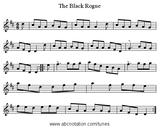 Black Rogue, The - staff notation